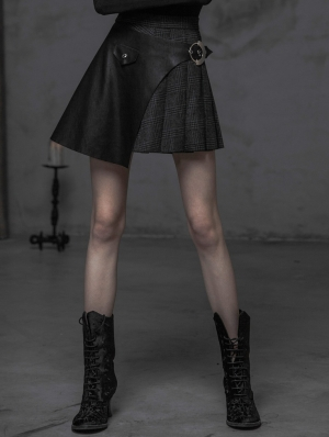 Grey Fashion Street Gothic Punk Pleated Stitching Half Skirt