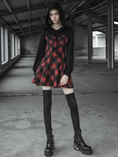 Black Fashion Street Gothic Fake Two Pieces Capped Short Dresses