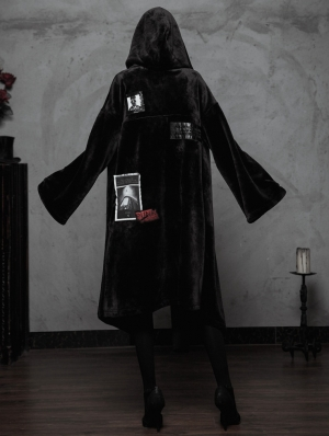 Black Fashion Street Gothic Witch Long Cardigan Jacket for Women