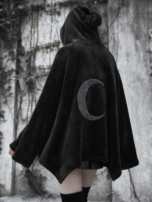 Fashion Street Gothic Dark Velvet Embroidered Cloak Jacket for Women