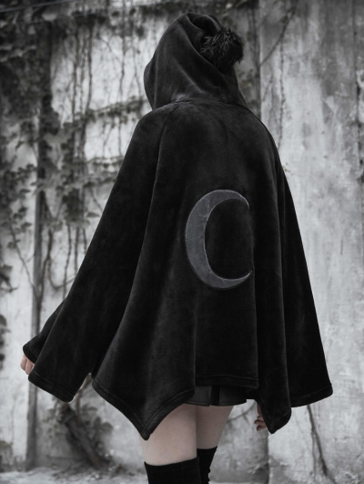 Fashion Street Gothic Dark Velvet Embroidered Cloak Jacket for Women