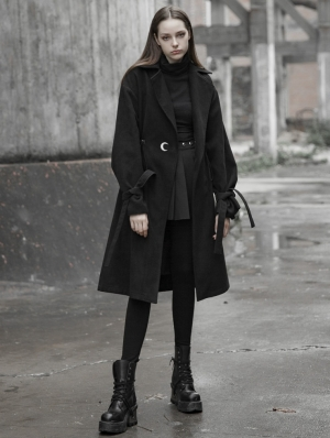 Black Fashion Street Gothic Long Coat for Women