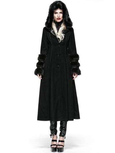 Black Gothic Two Wear Woolen Initation Fur Long Winter Coat for Women