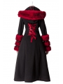 Black and Red Gothic Two Wear Woolen Initation Fur Long Winter Coat for Women