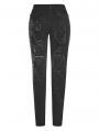 Black Fashion Street Gothic Personality Broken Hole Jeans for Women
