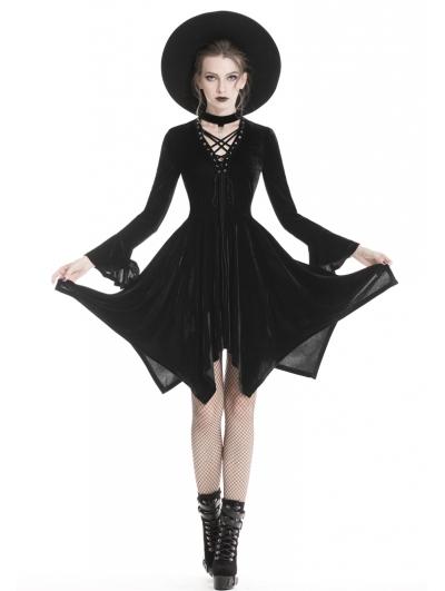 Black Fashion Gothic Punk Velvet Causal Irregular Dress