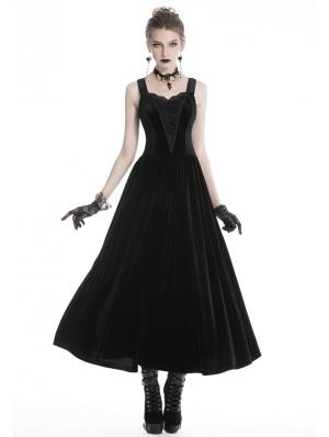Black Vintage Gothic Velvet Maxi Prom Party Dress