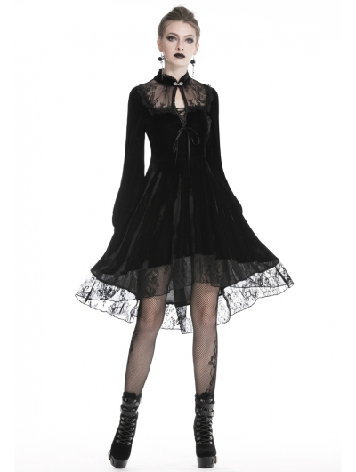 Black Gothic Velvet Long Sleeve High-Low Party Dress