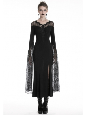 Black Sexy Gothic Lace Long Party Dress
