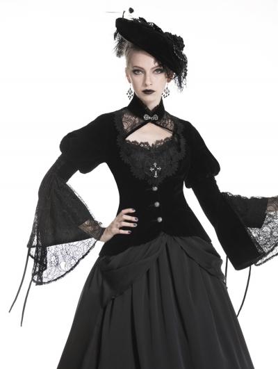 Black Vintage Gothic Victorian Velvet Short Jacket for Women