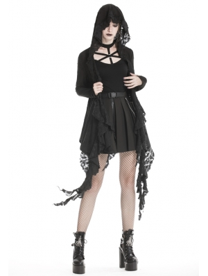 Black Gothic Punk Hooded Trench Coat for Women