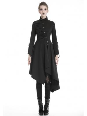 Black Gothic Punk Asymmetrical Long Jacket for Women