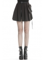 Black Gothic Punk Pleated Short Casual Skirt with Bag