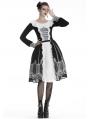 Black and White Gothic Lolita Mid-Length Skirt