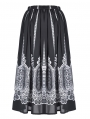 Black and White Gothic Lolita Mid-Length Skirt