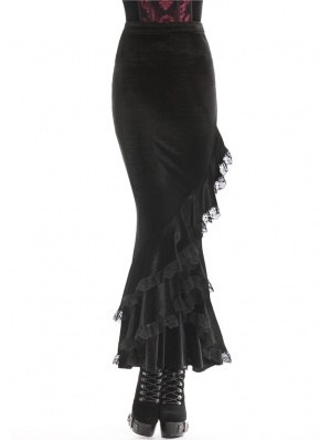 Black Romantic Gothic Velvet Long Fishtail Skirt