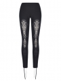 Black Gothic Hollow-Out Lace Legging for Women