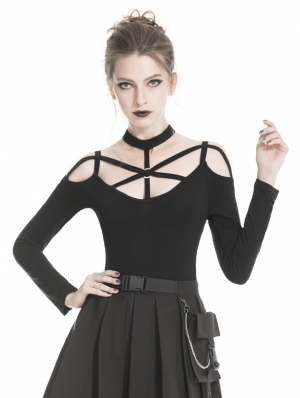 Black Gothic Punk Harness Style Long Sleeve T-Shirt for Women