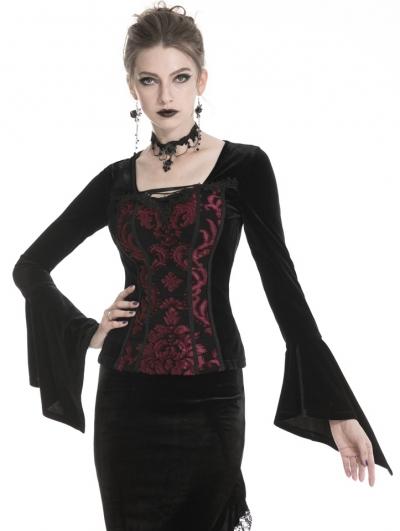 Black and Red Vintage Gothic Velvet Long Sleeve T-Shirt for Women