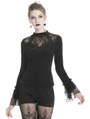 Black Gothic Lace Long Sleeve T-Shirt for Women