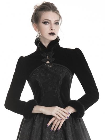 Black Gothic Velvet Fur Short Cape for Women