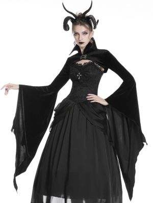 Black Gothic Velvet Vampire Cape with Big Bat Sleeves