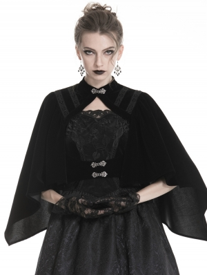 Black Vintage Gothic Velvet Shawl for Women