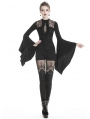 Black Gothic Romantic Gothic Lace Long Trumpet Sleeve T-Shirt for Women