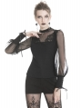 Black Gothic Casual Long Mesh Sleeves T-Shirt for Women