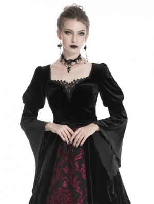 Black Vintage Gothic Velvet Long Sleeve T-Shirt for Women