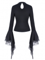 Black Gothic Punk Star Long Sleeves Casual T-Shirt for Women