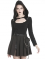 Black Gothic Punk Rock Hooded Long Sleeves T-shirt for Women