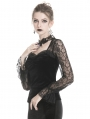 Black Gothic Velvet and Lace Long Sleeve T-Shirt for Women