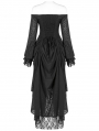 Black Vintage Gothic Victory Day Lace High-Low dress