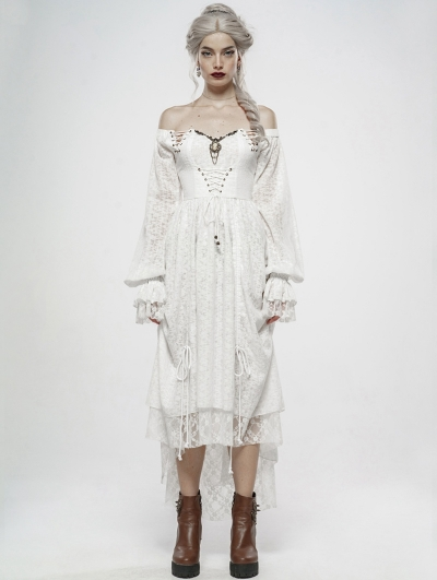 White Vintage Gothic Victory Day Lace High-Low dress