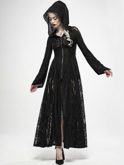 Black Gothic Dark Moon Lace Long Hooded Coat