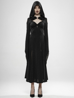 Black Gothic Wild Witch Long Dress with Hat