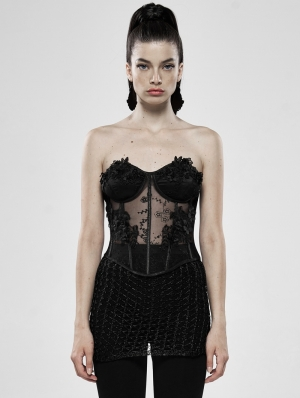 Black Romantic Gothic Flower Perspective Sexy Corset