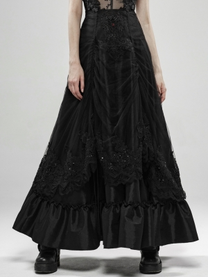Black Gothic Gorgeous Lace Long Skirt