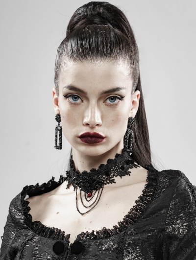 Black Rose And Thorns Gothic Lace Necklace