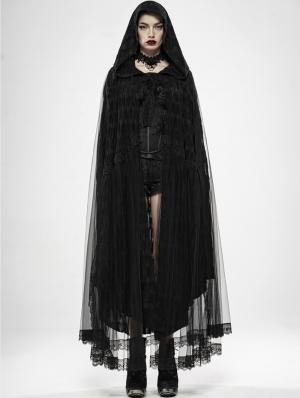 Black Gothic Devil Angel Long Hooded Cape for Women