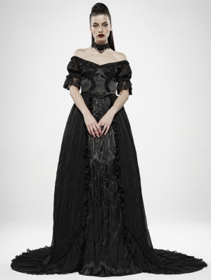 Black Vintage Gothic Victorian off-the-Shoulder Long Dress