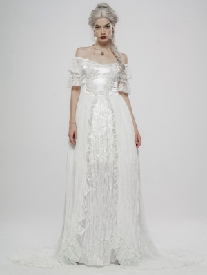 White Vintage Gothic Victorian off-the-Shoulder Long Dress