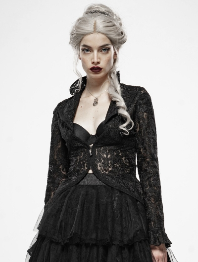 Gothic Dark Queen Perspective Lace Short Jacket for Women