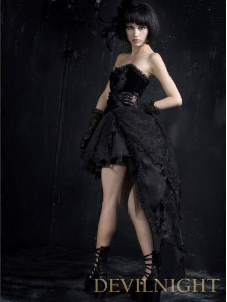 Black strapless gothic corset high low dress devilnight for Leather wedding dresses black