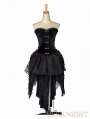 Black Strapless Gothic Corset High-Low Dress
