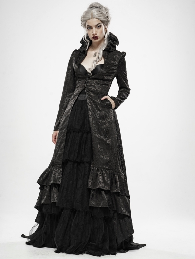 Black Gothic Queen Style Long Dress Coat for Women
