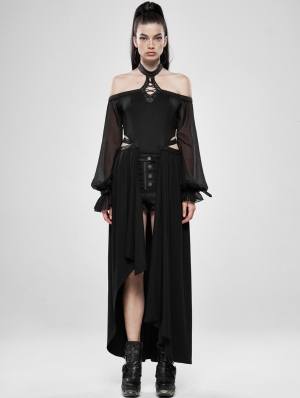 Black Gothic Dark Night Dress with Detachable Long Skirt