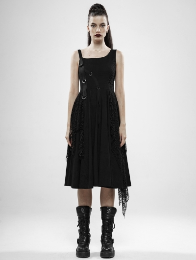 Black Gothic Punk Rebellious Girl Irregular Dress