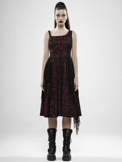Red Plaid Gothic Punk Rebellious Girl Irregular Dress